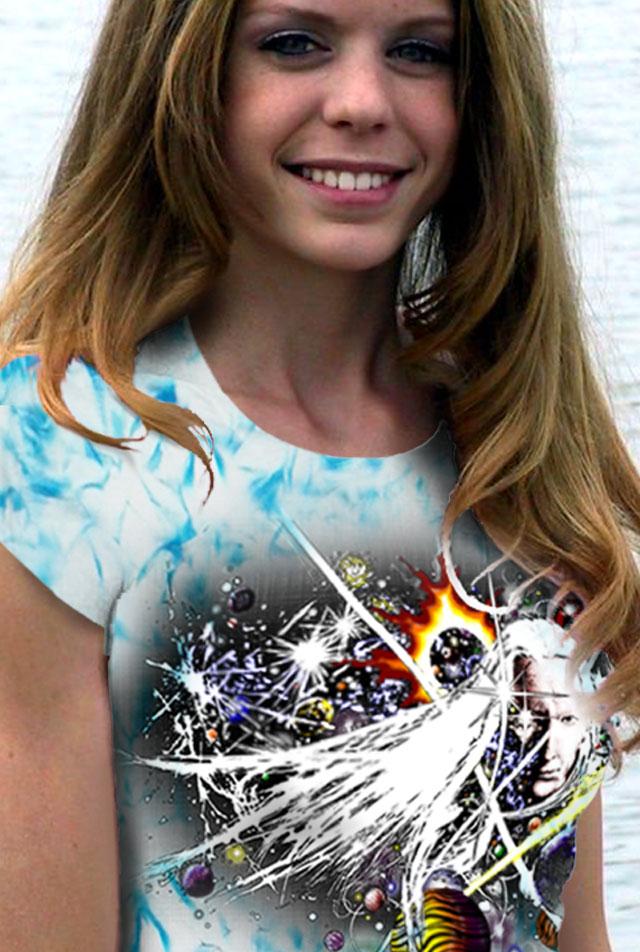 Johnny Winter T-shirt - Women's - Winters Blues - Blue crystallized, 100% cotton crew neck cut, short sleeve tee.